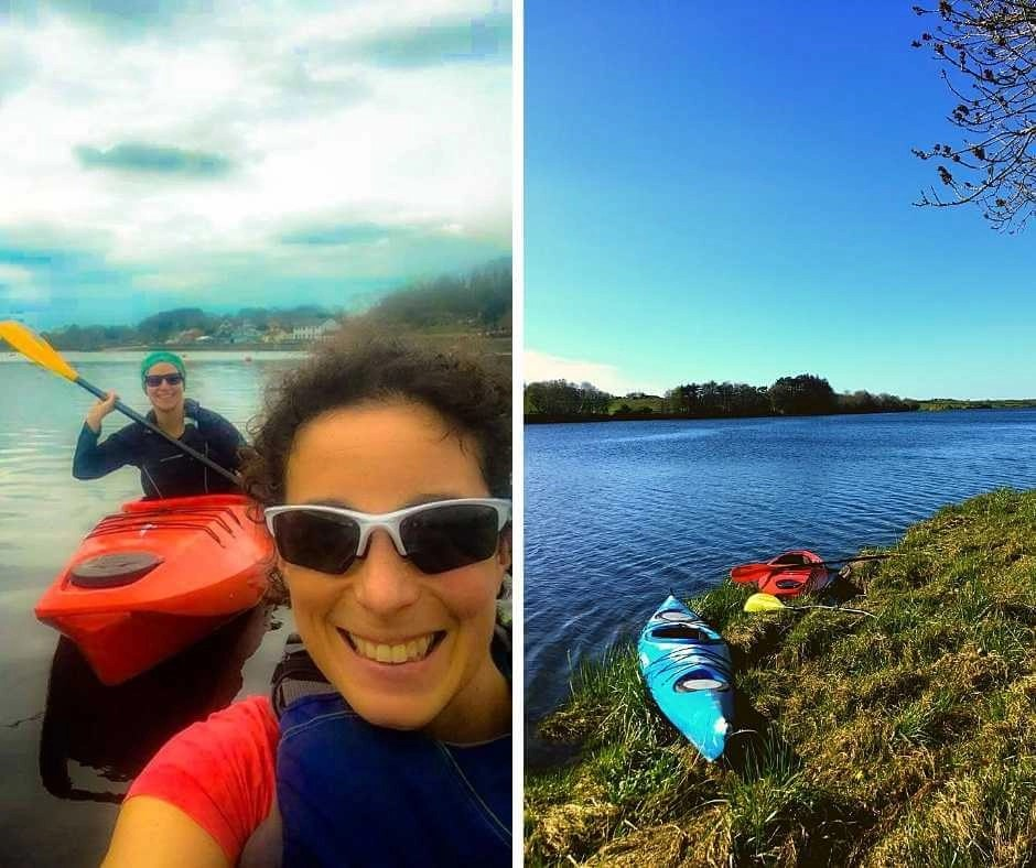 Rachel and Iszy kayaking on the River Moy