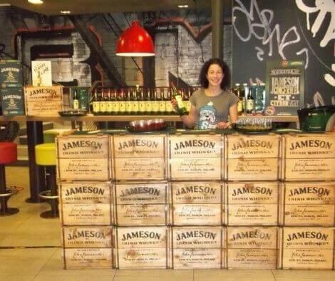 Rachel behind the Whiskey bar