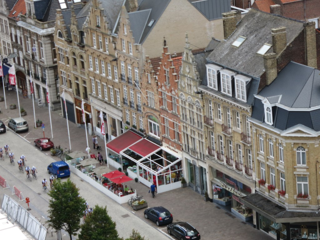 This row of buildings, seen from the tower above In Flanders Fields museum, were all built in the early 1920's.