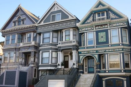 a row of Victorian houses
