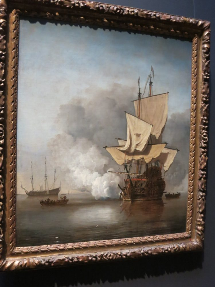 Two hours in the Rijksmuseum will allow you to enjoy the Gallery of Honour in the Rijksmuseum, full of Golden Age masterworks, like this painting depicting a sailing ship firing a shot at another vessel on a calm sea.