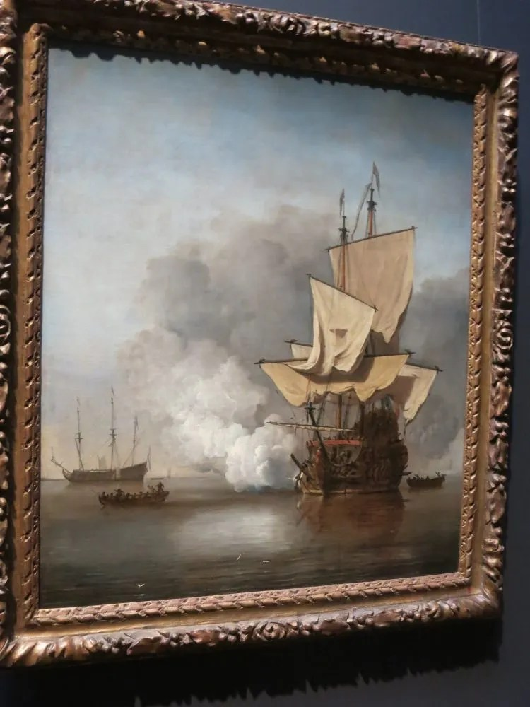 Two hours in the Rijksmuseum will allow you to enjoy the Gallery of Honour in the Rijksmuseum, full of Golden Age masterworks, like this painting depicting a ship firing a shot at another vessel on a calm sea.