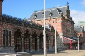 view of Groningen train station, with the Starbucks in the left wing