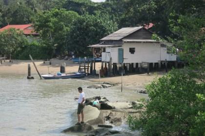 "the beach on Pulau Ubin next to the ferry (""bumboat"") landiing"