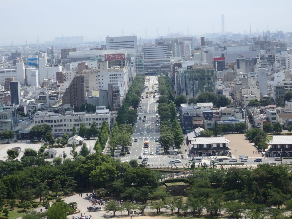 Looking down the same boulevard from Himeji Castle toward the train station