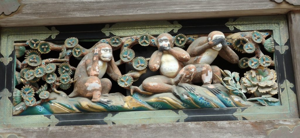 carving of the three monkeys in Tosho-gu Shrine in Nikko, Japan: what to see in Nikko