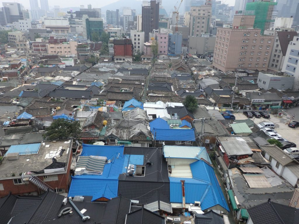 view of Ikseon Hanok Area from my hotel room
