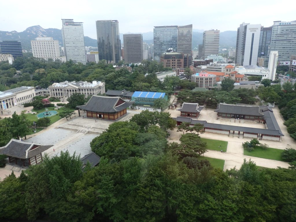 an aerial view of the Deoksugung Palace grounds in Seoul, South Korea
