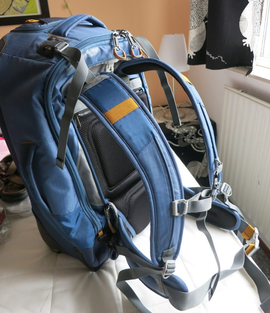 Here is how my Eagle Creek backpack looks with all the straps assembled and clipped into place. It all packs away into a zippered pocket when youre using it as a wheeled bag, but adds significant bulk.