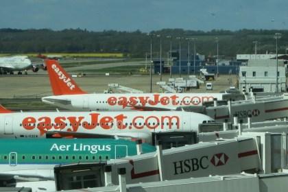 Planes at boarding gates in Paris.