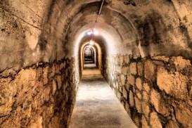 The entrance tunnel to the bomb shelter at Refugio de Cervantes in Alcoy, Costa Blanca, Spain