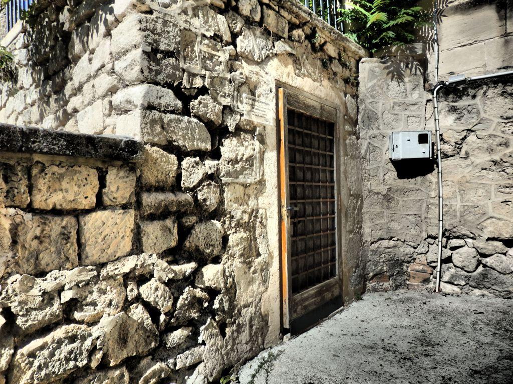 The entrance to the Refugio de Cervantes bomb shelter in Alcoy, Spain