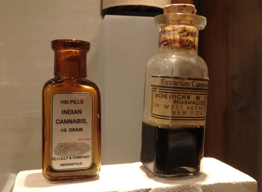 a few bottles from the collection of antique medicines containing cannabis and other drugs