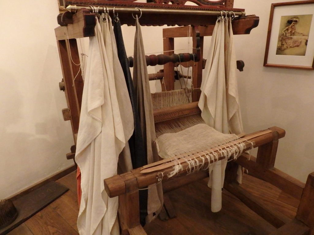 the loom in the hemp section of the museum