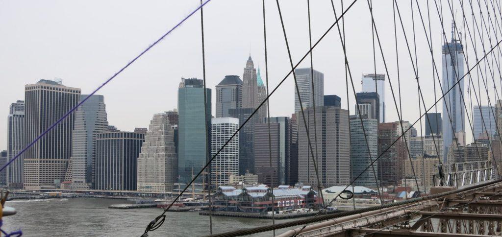a view of Manhattan from the Manhattan Bridge, New York City