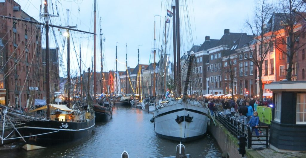 WinterWelVaart last year, at dusk, complete with historic ships in a historic neighborhood of Groningen.
