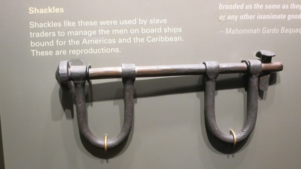 Part of the section of the African Burial Ground museum dealing with the slave trade that brought Africans to colonial New York.