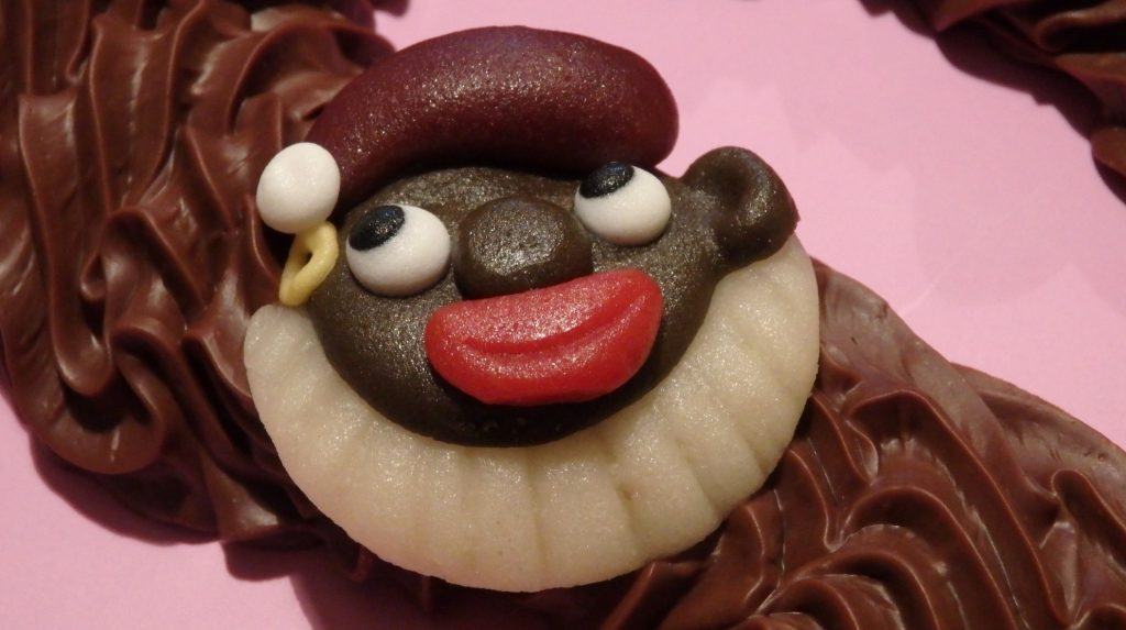 Zwarte Piet as depicted on a chocolate letter.