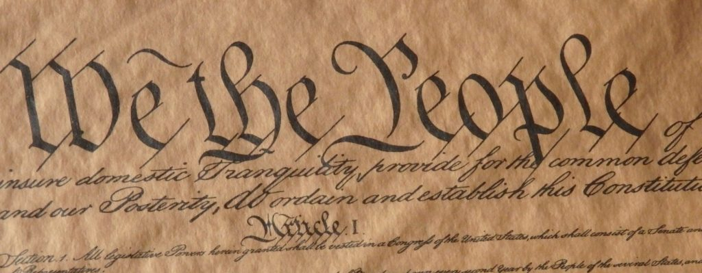 """We the People"": the first three words of the US Constitution, a phrase used a lot by the modern-day Tea Party"