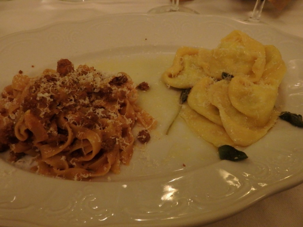 our pasta dishes at Osteria de Poeti in Bologna, Italy