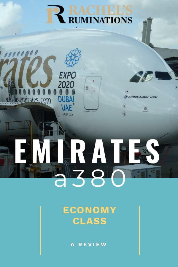 Overall, I was very pleasantly surprised at Emirates A380 economy class. This review details why I liked traveling economy class in Emirates A380 so much. #emirates #A380 #review #dubai via @rachelsruminations