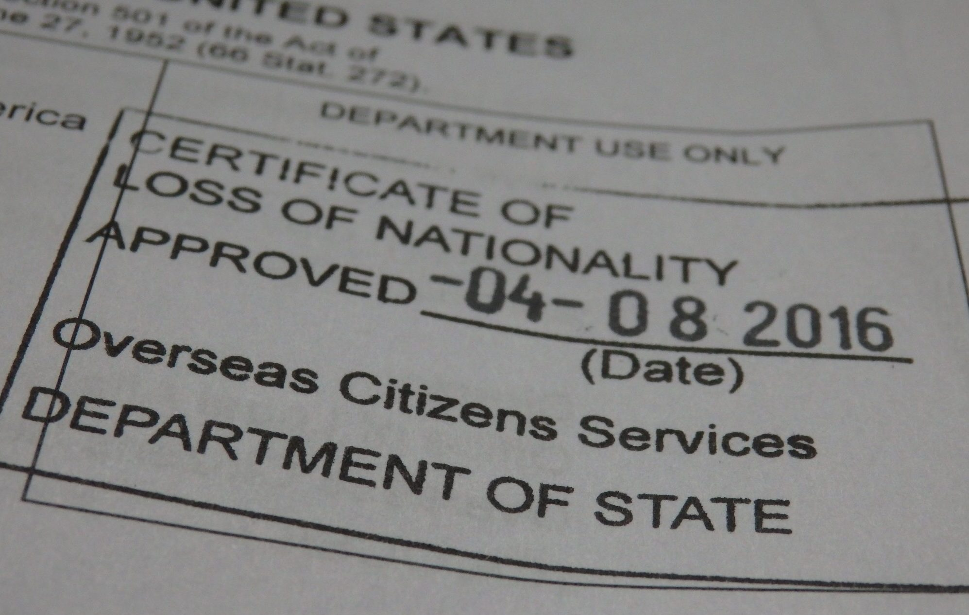 On receiving my certificate of loss of nationality the state department stamp on my certificate of loss of nationality 1betcityfo Image collections