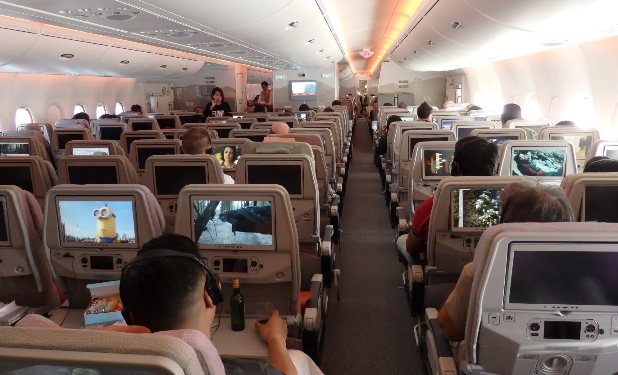 a view down the length of the Emirates A380. You can see the seatback screens here too.
