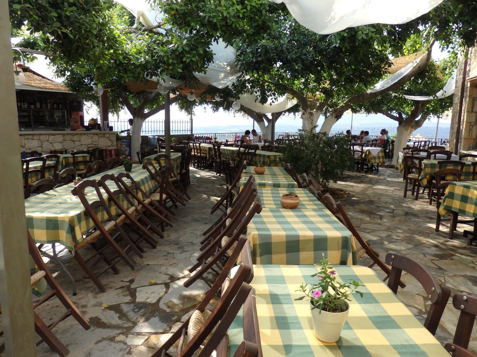 the taverna at Arolithos Traditional Cretan Village
