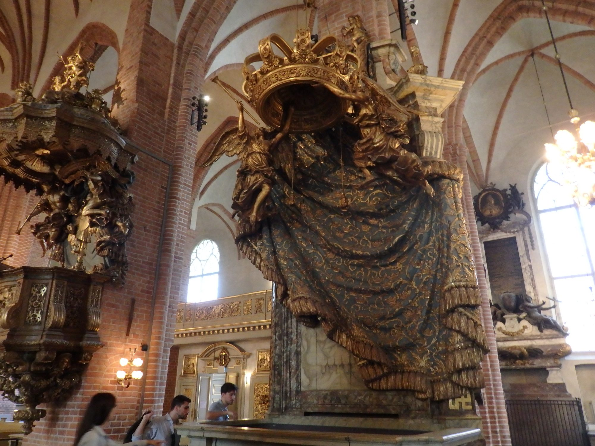 In the center, one of the royal pews in Storkyrkan. To the left: the pulpit. Stockholm, Sweden.