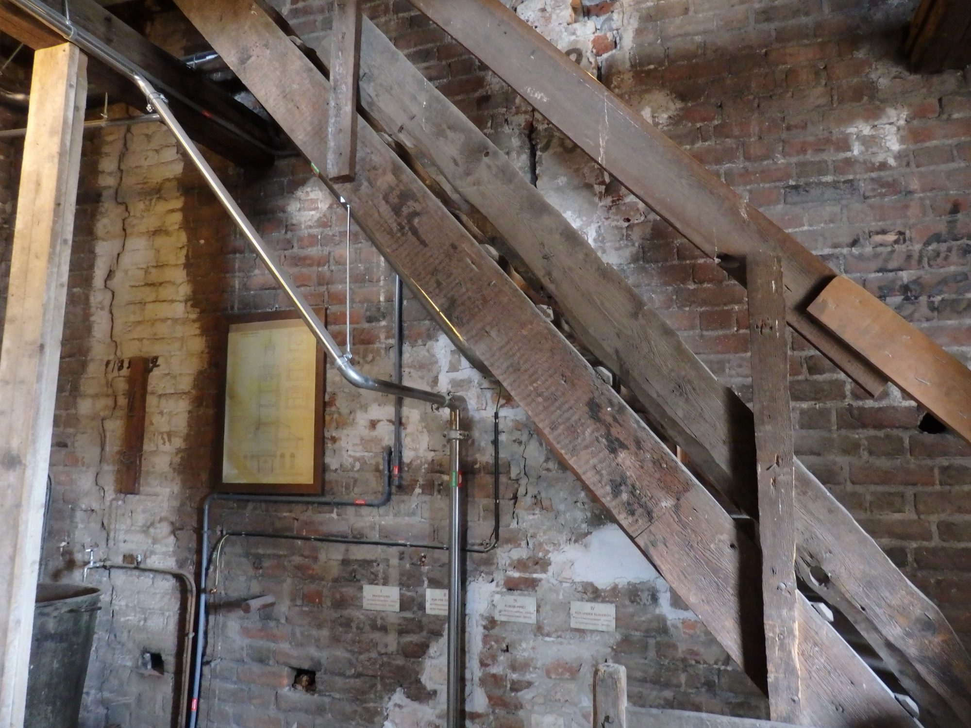 one section of the staircase going up in Storkyrkan tower