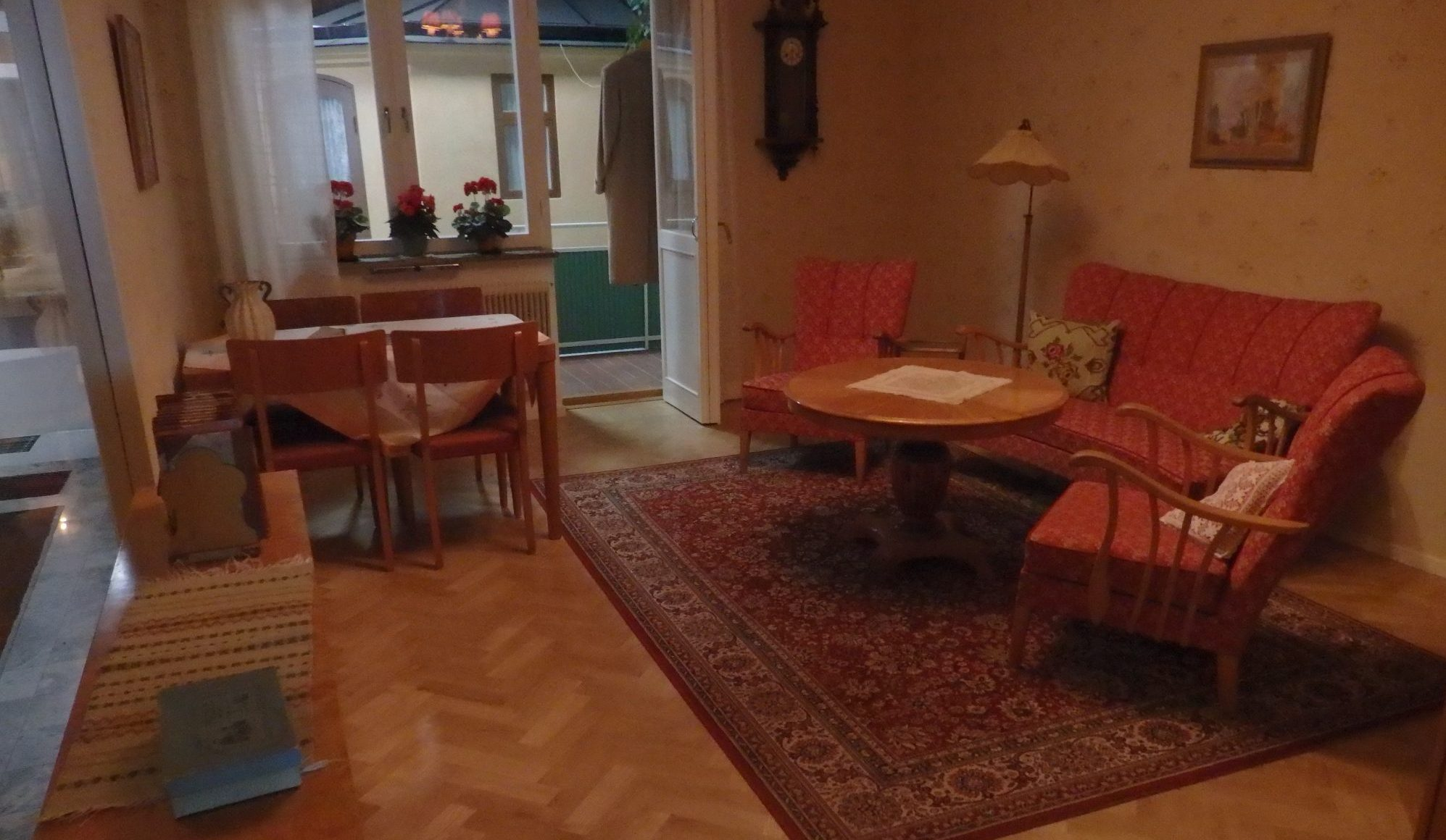 The living room of the recreated Folkhammet apartment in the Nordic Museum, Stockholm, Sweden