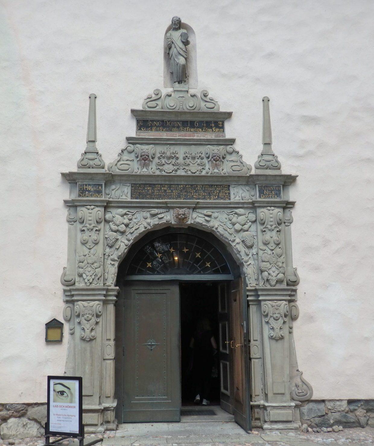 entrance to the church in Nyköping center