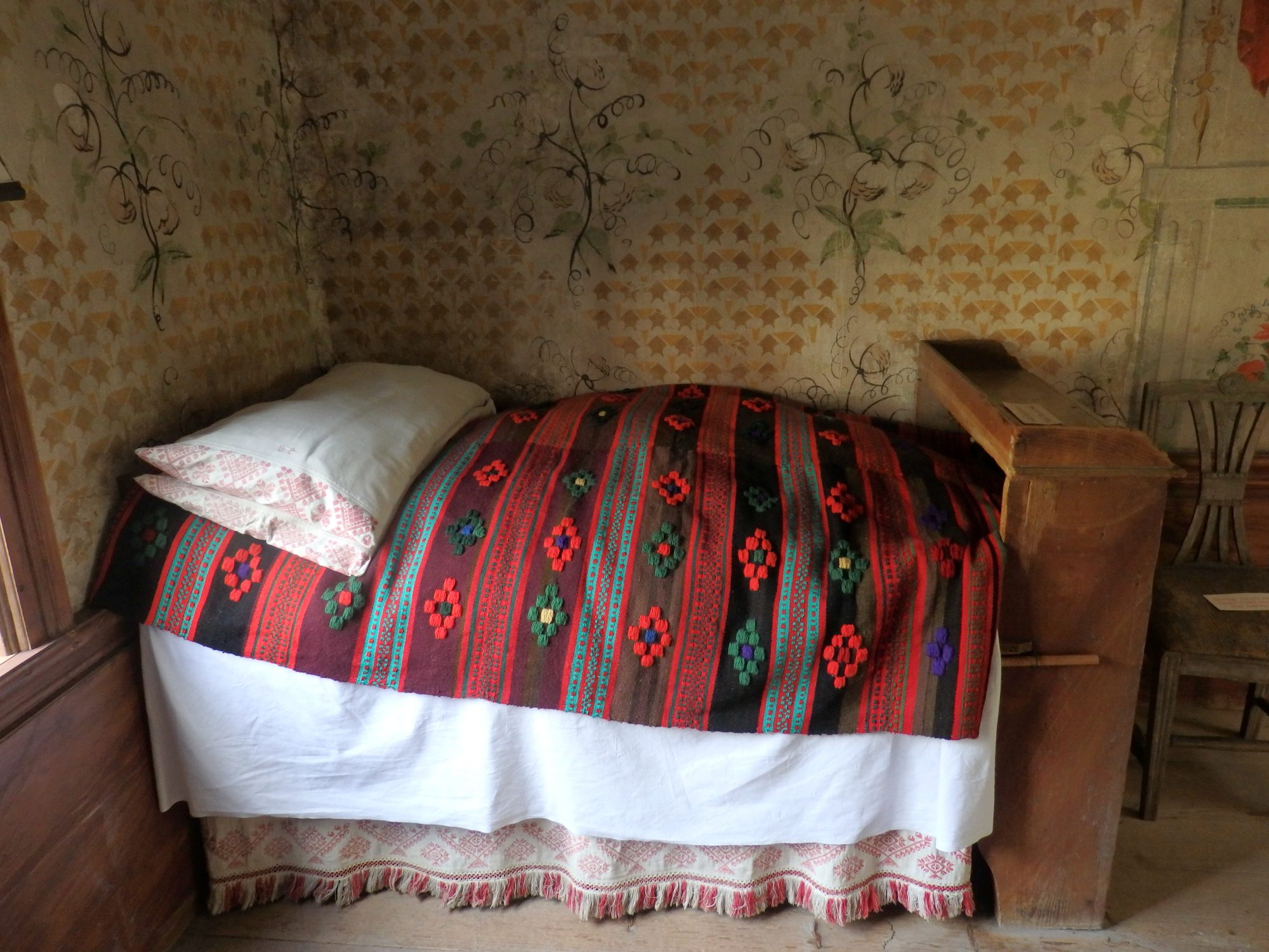 an 1850 farmhouse bedroom at Skansen, Stockholm, Sweden