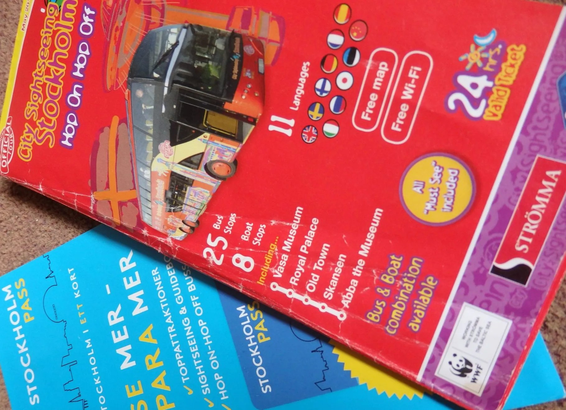 leaflets from the Hop On Hop Off and the Stockholm Pass