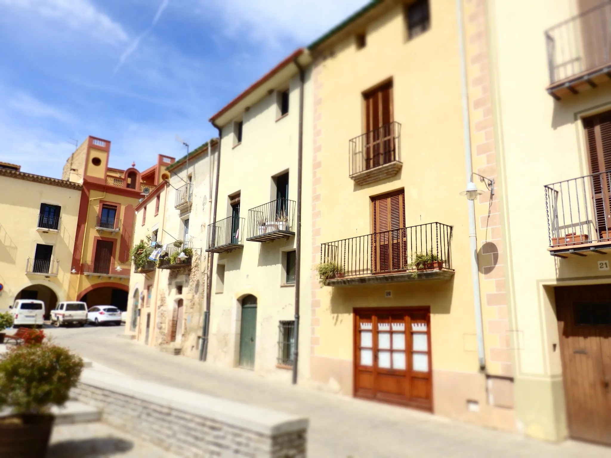 a pretty row of houses in Peratallada in the Baix Emporda, Spain