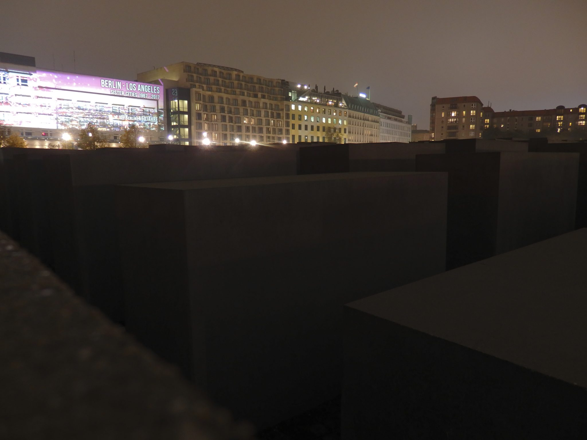 A portion of the Memorial to the Murdered Jews of Europe in Berlin as it looks at night
