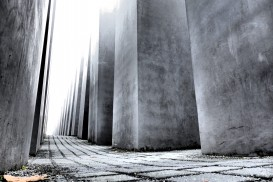 a daytime shot of the Monument to the Murdered Jews of Europe in Berlin