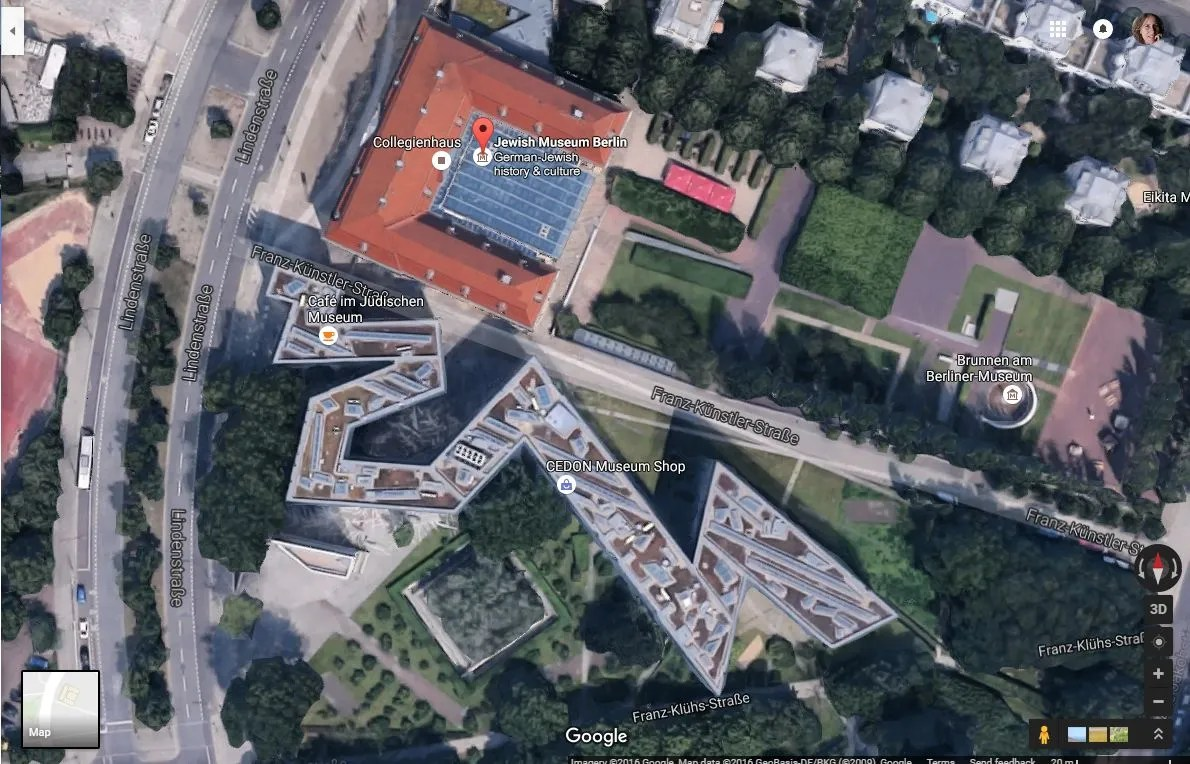 a Google Maps view of the Jewish Museum in Berlin