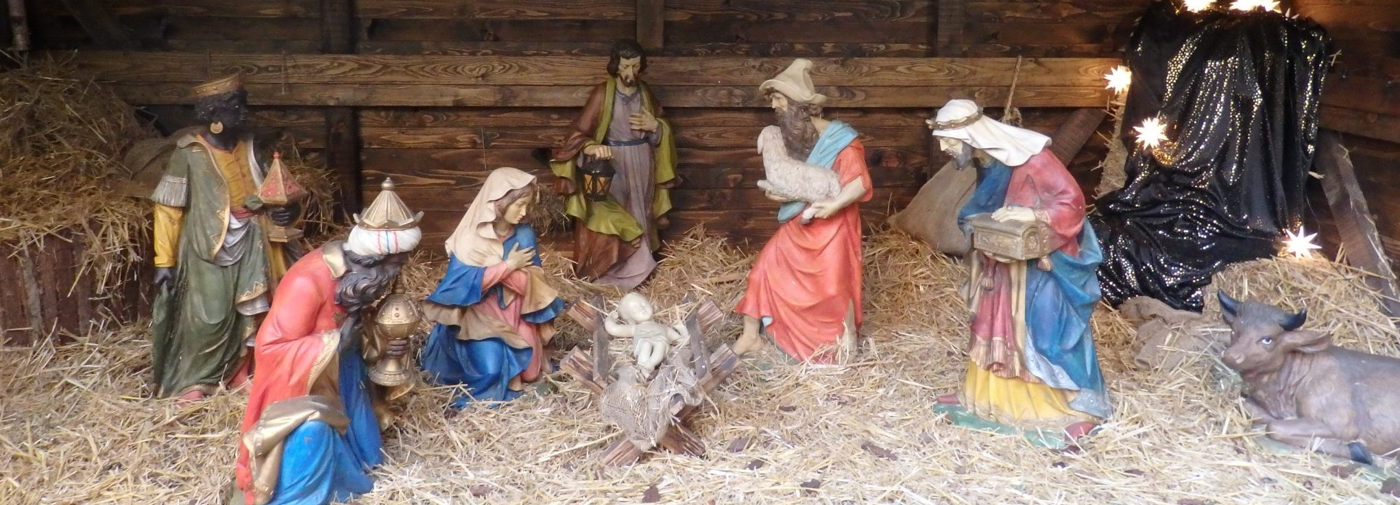 Christmas markets in Germany always include a nativity scene like this one in Oldenburg.
