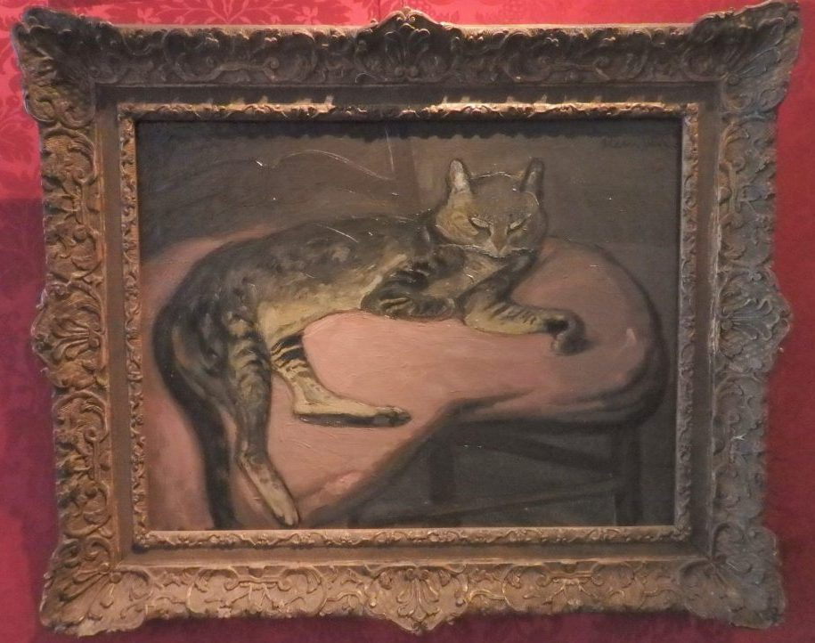LHiver: Chat sur un coussin 1909, by Theophile Alexander Steinlen. At the Cat Cabinet, Amsterdam.
