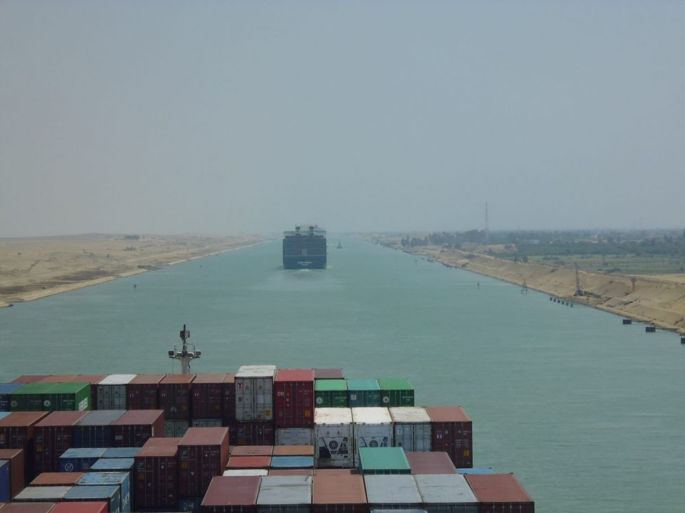 The view from Rebecca's freighter as it passed through the Suez Canal. Photo courtesy of Rebecca Hall.