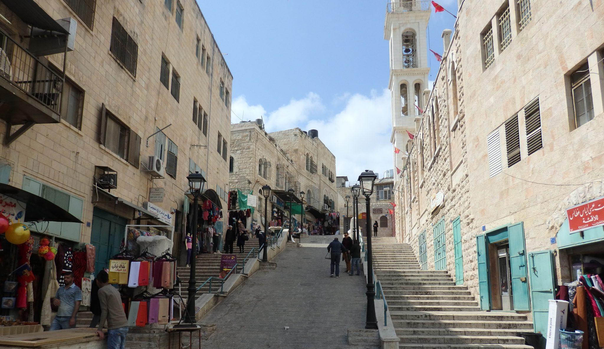 Visiting Bethlehem: a shopping street in the old city of Bethlehem