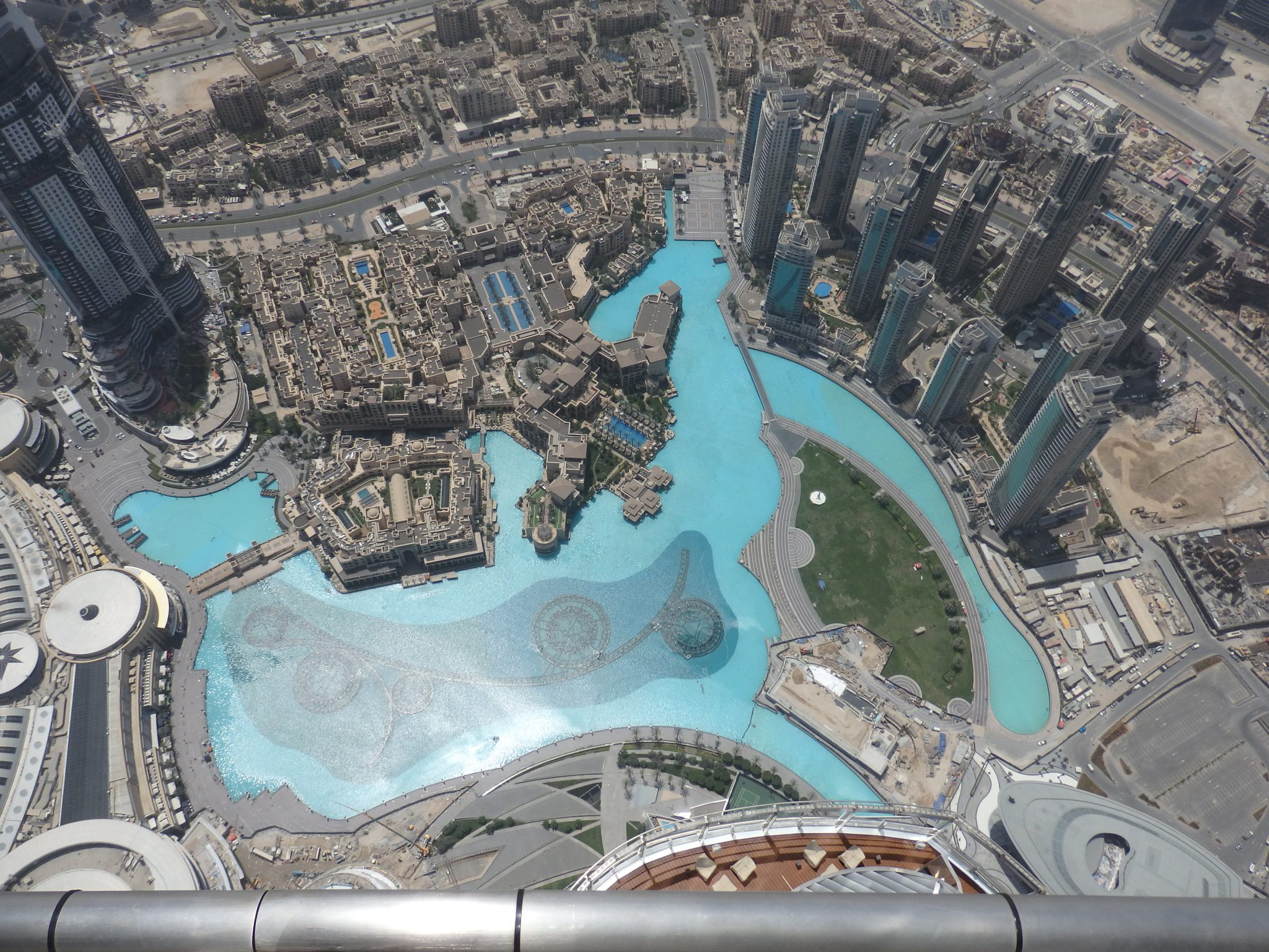 a view down from the Burj Khalifa in Dubai, the tallest building in the world (but not for long)