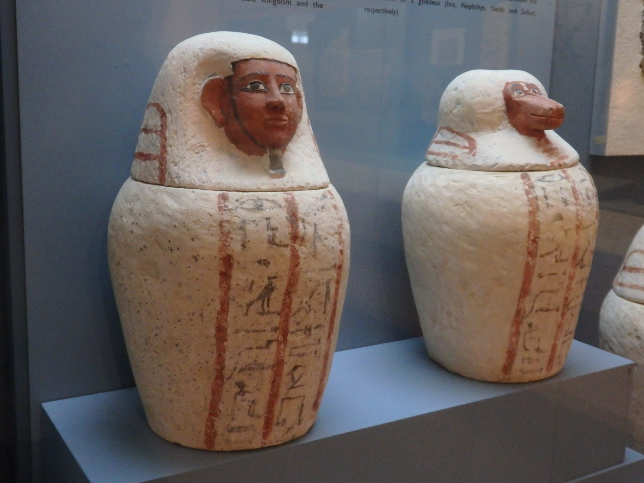 Canopic jars from 19th-20th Egyptian dynasties, 1307-1070 BCE, in the Bible Lands Museum, Jerusalem