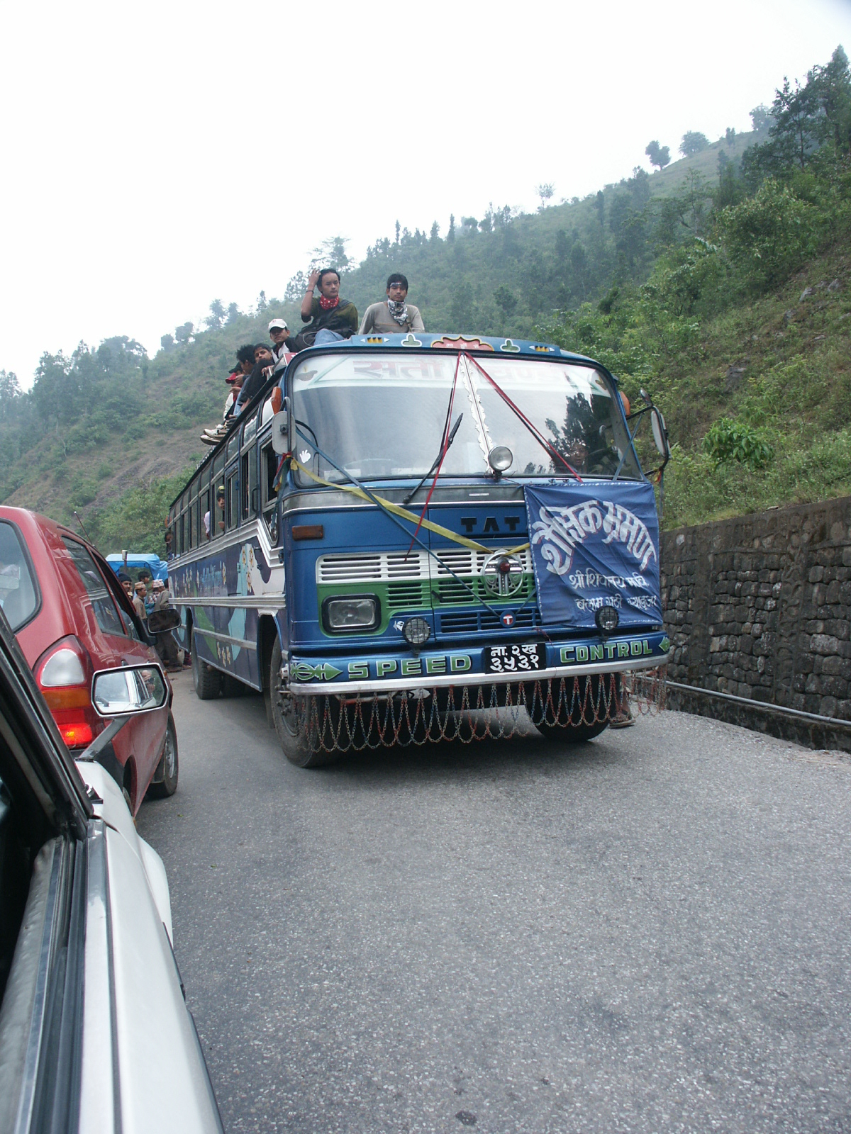 """Albert took this photo on his earlier trip to Nepal, on the same """"highway"""" to Pokhara: Surviving the Roads in Nepal"""