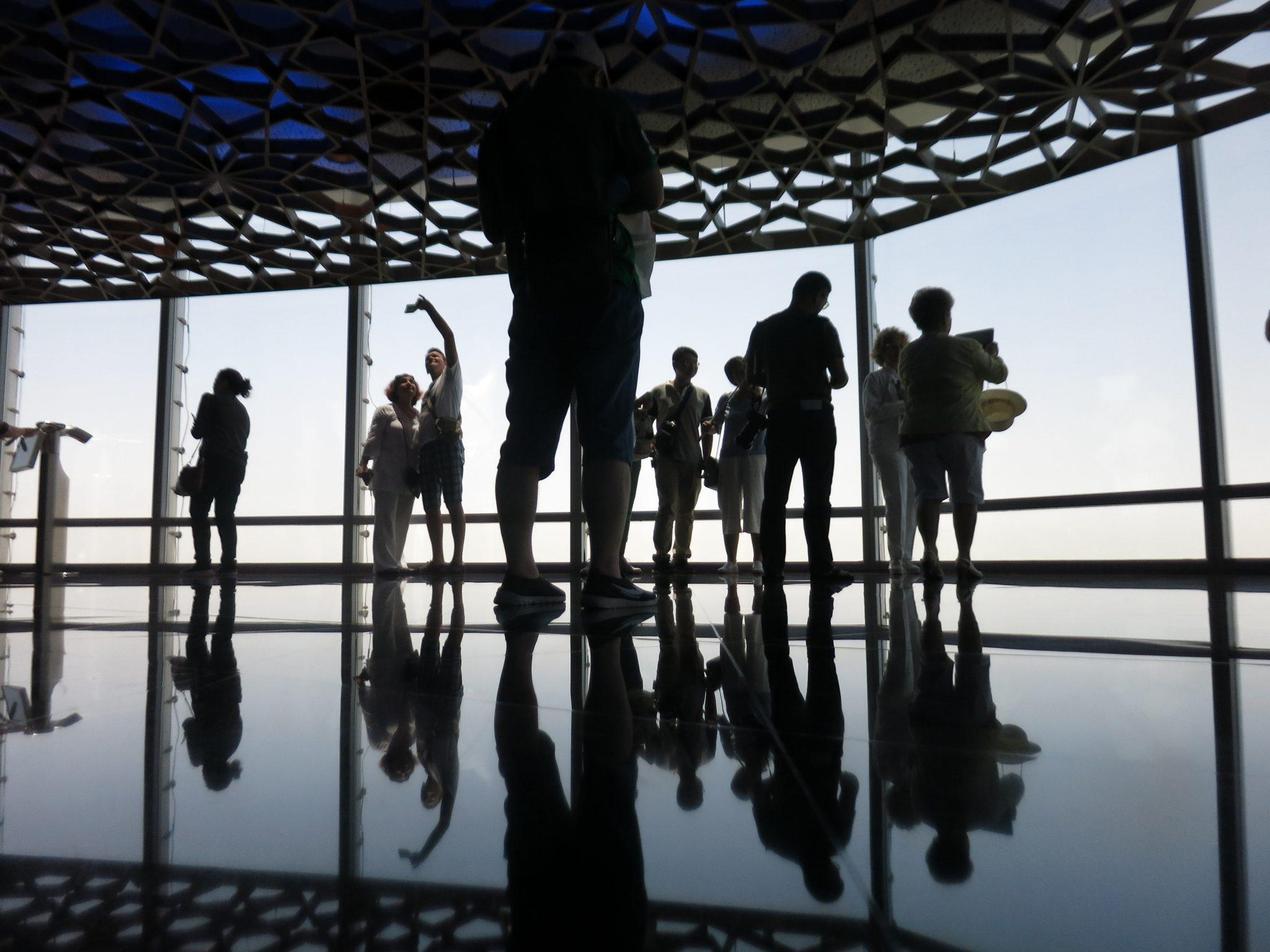 Tourists on the 125th floor of Burj Khalifa