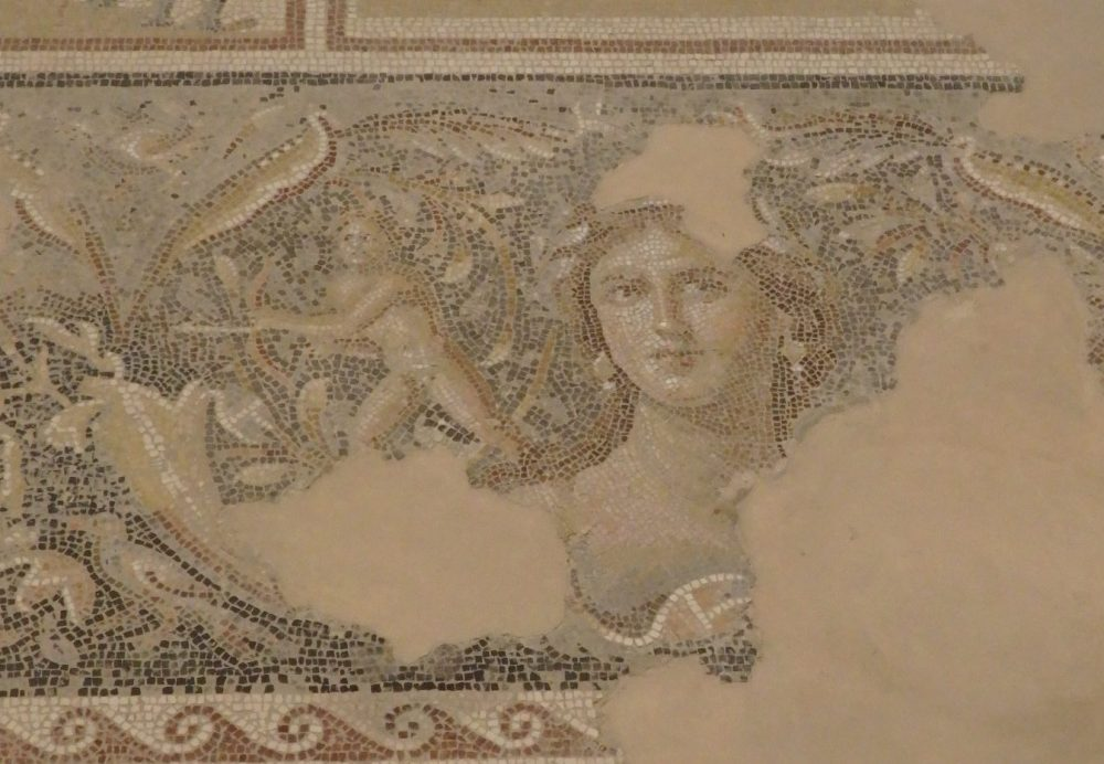 """This image, part of a larger mosaic in the Dionysus House, is called """"the Mona Lisa of Zippori"""" according to the park's leaflet."""