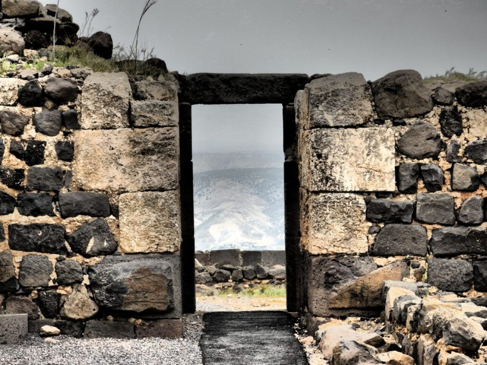 The remains of a doorway with a view at Belvoir Fortress in Israel.