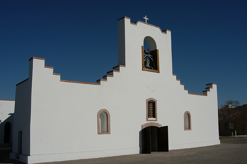 Traces of El Paso's history: The simple, stepped façade of Socorro Mission. Image via Flickr by misha3637