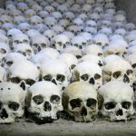 a careful arrangement of skulls inside the ossuary: Macabre sightseeing in Brno